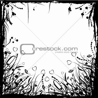 Valentine floral grunge frame, vector