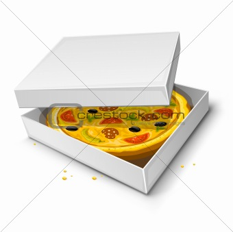 paper box with pizza vector illustration