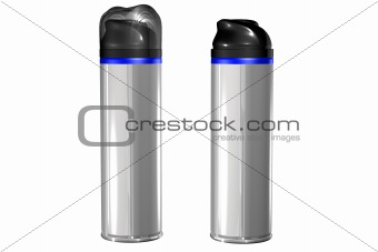 A spray can with blank label, isolated on white.