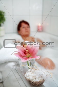 Taking a bath and relaxing
