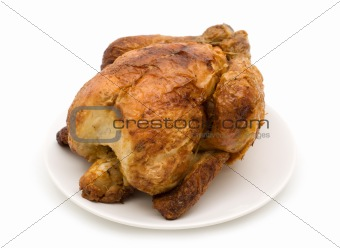 grilled chicken on white background