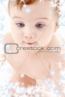portrait of crawling baby boy