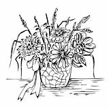 Bouquet in vase - sketch drawing