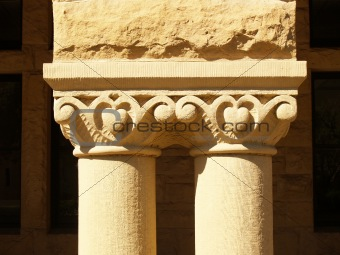 Architectural detail of stone columns carving and texture