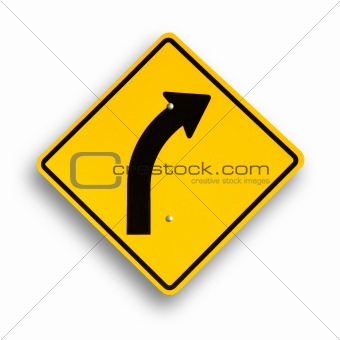Curve sign isolated on white, clipping path.