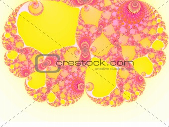 Brain Shape Light Pink and Yellow Spiral Fractal 2d Pattern for