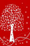 White Christmas tree with white snowflakes