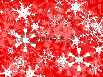 Bright White christmas snowflakes on a red background design
