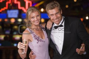 Couple celebrating inside casino