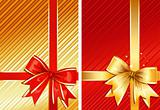 Golden Ribbon & Red Ribbon / two gifts / vector
