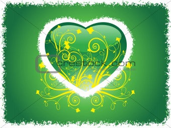 grunge frame heart with green background, wallpaper