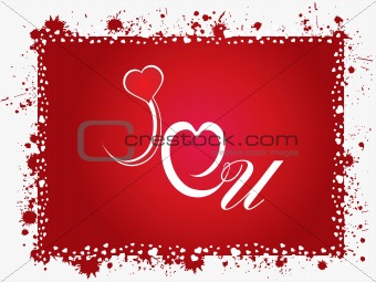 grunge frame with love notes on red background_2, illustration