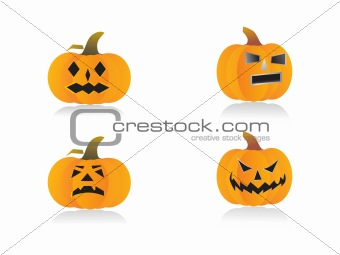 four pumpkins with different expressions, vector illustration