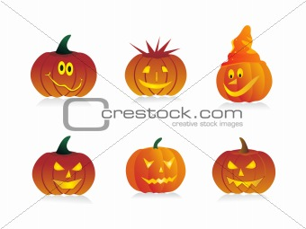 six pumpkins with different expressions, vector illustration