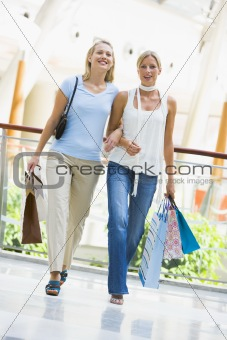Friends shopping in mall