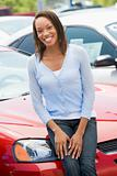 Woman choosing new car