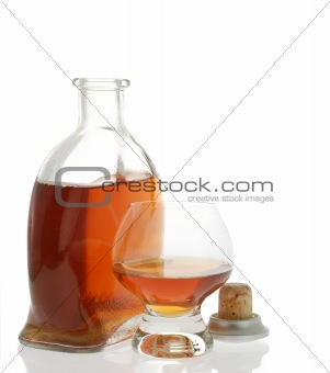 Cognac bottle isolated
