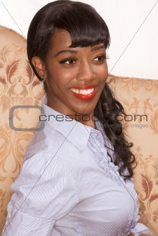 Smiling black girl portrait in retro styleSmiling black girl por