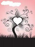 tree with heart in the  garden, wallpaper