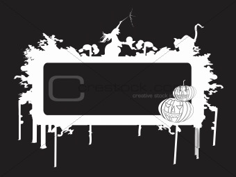 black frame with halloween background, wallpaper