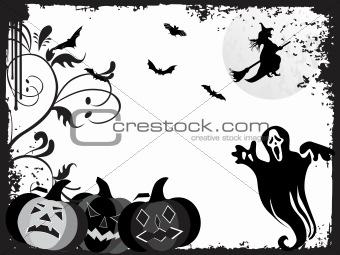 black grunge frame with halloween background, illustration