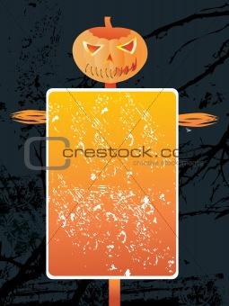 grunge frame on scary halloween background