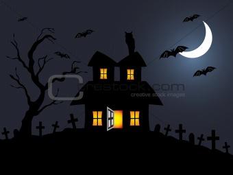 halloween night scene in graveyard; illustration