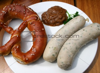 Bavarian veal sausage, Prezel, mustard / Weisswurst, Brezel & süßer Senf