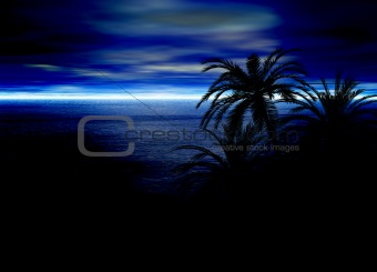 Blue Seascape Horizon With Palm Tree Silhouettes