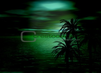 Beautiful Green Horizon Sea and Sky after sunset with tree silho