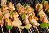 Meat and vegetables on barbecue sticks - closeup