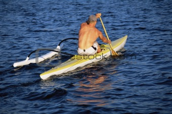A man canoeing