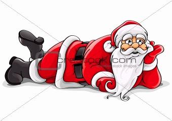 Santa Claus lying Christmas vector illustration