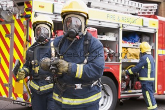 Firefighters in protective workwear