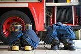 Firefighter's boots and trousers in a fire station