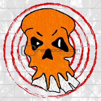 Angry Orange Skull on a Grunge Background