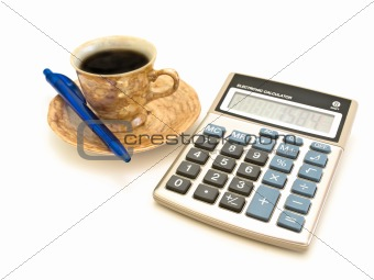 calculator, coffee and pen