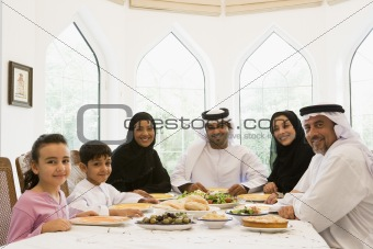 A Middle Eastern family enjoying a meal