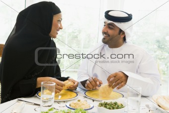 A Middle Eastern couple enjoying a meal