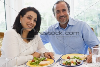 A Middle Eastern couple enjoying a meal together