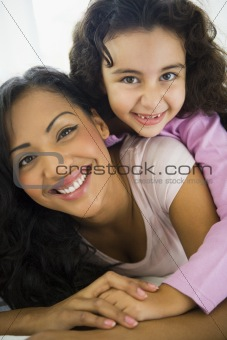 A woman with her daughter