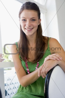 A young woman sitting in a cafe