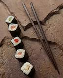 Sushi selection & chopsticks