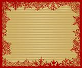 Red and Gold Striped Snowflake Background