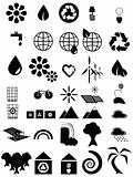 Black and white environmental icons