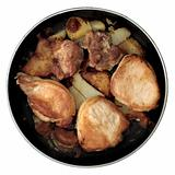 Roasted pork on frying-pan