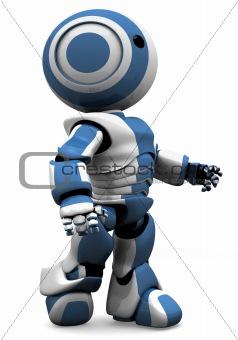 Blue and White Robot Walking Forward
