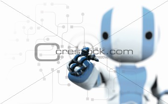 Blue and White Robot Pointing at Circuitry