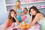 Group of friends enjoying sexy breakfast