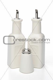 Oil, vinegar and salt bottles